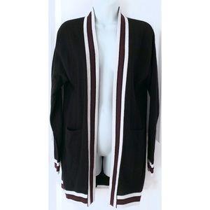 Aqua Cashmere Black Stripe Open Front Cardigan